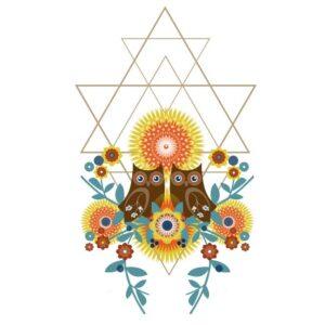 Ayahuasca Centre Symbool driehoek en Ayahuasca visualisatie